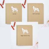 Dog Valentine's Day Notecards | 200+ Dog Breeds to Choose from | 10 Pack of Cards | Pick Front and Inside Phrases | Colored Hearts Pattern