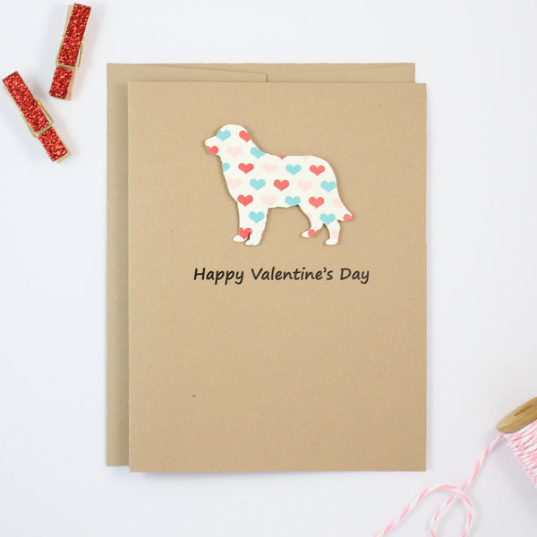 Golden Retriever Valentine's Day Card | Handmade Dog Hearts Valentine Notecards | Single or 10 Pack