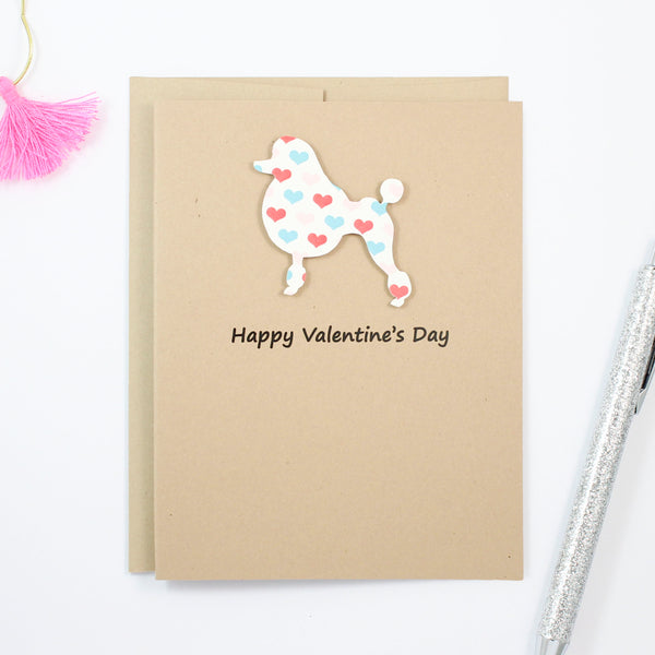 Poodle Valentine's Day Card | Single 10 Pack | Colored Hearts | Toy Miniature Standard | Continental