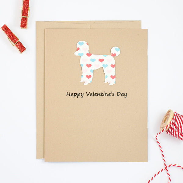 Poodle Valentine's Day Card | Single or 10 Pack | Colored Hearts | Toy Miniature Standard | Sporting