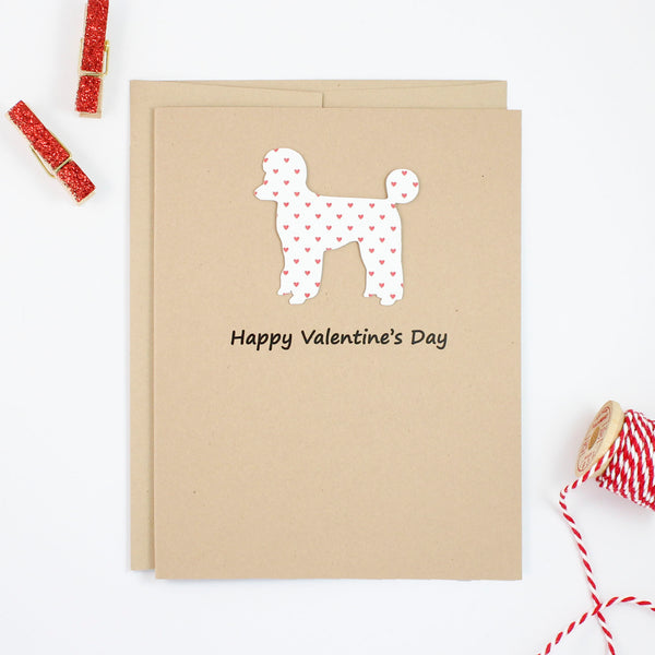 Poodle Valentine's Day Cards | Single or 10 Pack | Red Hearts | Toy Miniature Standard | Sporting