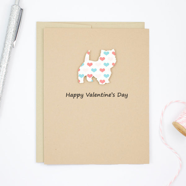 West Highland White Terrier Valentine's Day Dog Greeting Card | Westie Colored Hearts | Pick Inside | Single or 10 Pack