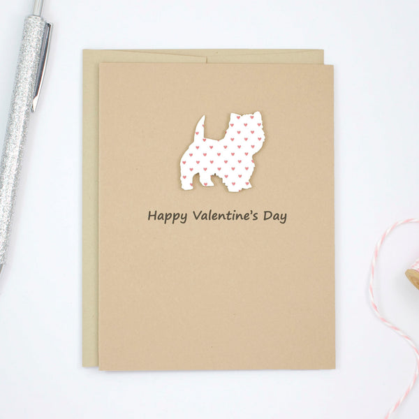 West Highland White Terrier Valentine's Day Dog Greeting Card | Westie Small Red Hearts | Pick Inside | Single or 10 Pack