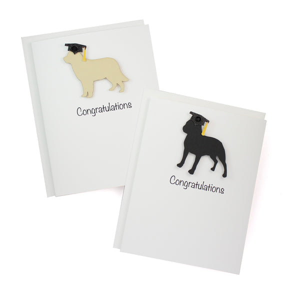 Dog Graduation Card | 200+ Dog Breeds to Choose from | 25 Dog Colors Available | Choose Inside Phrase | Handmade Greeting Card Grad Cap