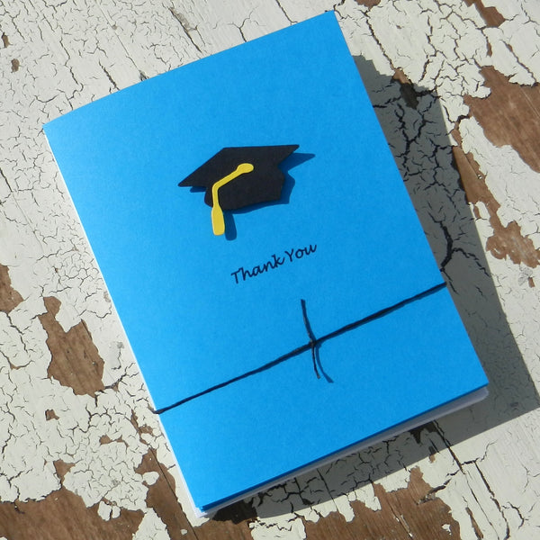 Handmade Graduation Thank You Cards - 10 Pack - Celestial Blue