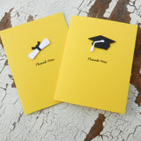 Handmade Graduation Thank You Cards - 10 Pack - Yellow