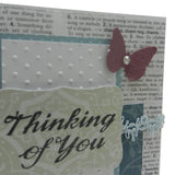 Handmade Thinking of You Card with Butterflies Dictionary Paper background Vintage and distressed - Embellish by Jackie
