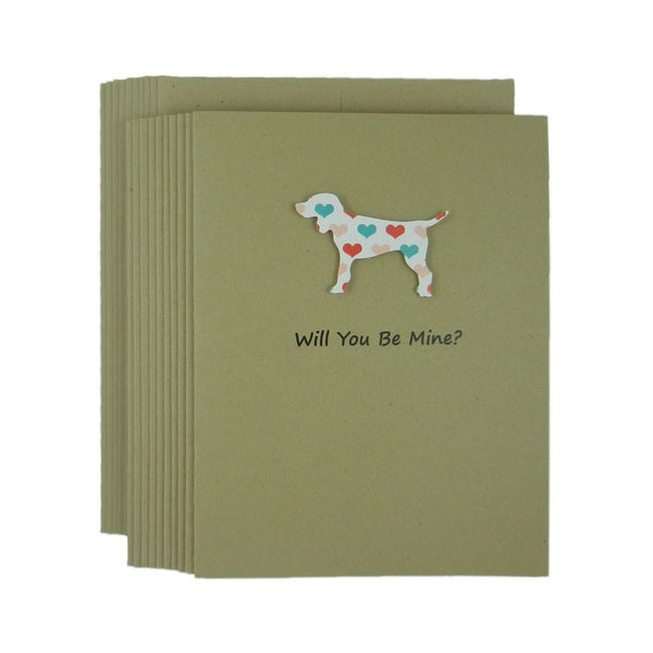 Dog Valentines Day Single Greeting Card - Standard Dog Handmade Kraft Recycled paper