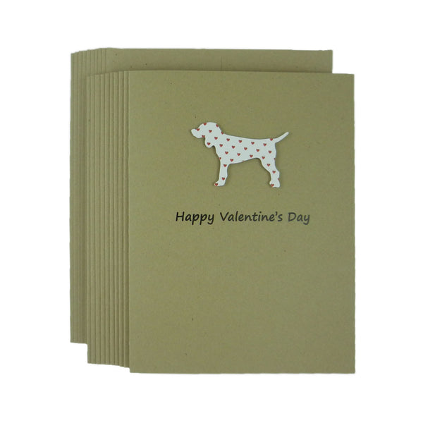 Dog Valentines Day Greeting Cards - Standard Dog Handmade Kraft Recycled paper