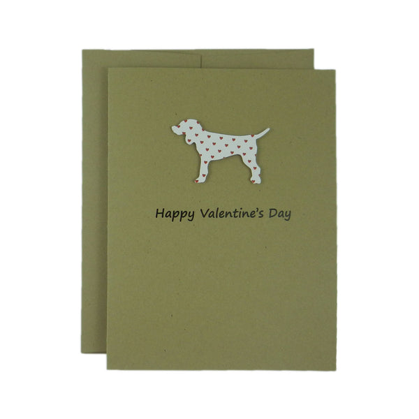Dog Valentines Day Single Greeting Card - Standard Dog - Red Hearts - Embellish by Jackie