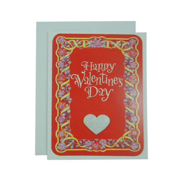 Valentine's Day Greeting Card - Handmade Recycled - Glitter Heart Valentine's Day Card - Embellish by Jackie