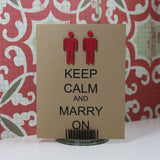 Wedding Card - Keep Calm and Marry On - Gay - Lesbian - Same Sex - Handmade Wedding Congratulations Card Kraft minimalist - Embellish by Jackie