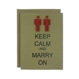 Wedding Card - Keep Calm and Marry On - Gay - Lesbian - Same Sex - Handmade Wedding Congratulations Card Kraft minimalist