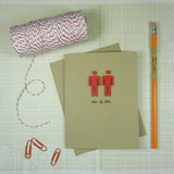 Handmade Gay Congratulations Card - Mr. & Mr. - Male silhouettes - Wedding Card - Embellish by Jackie