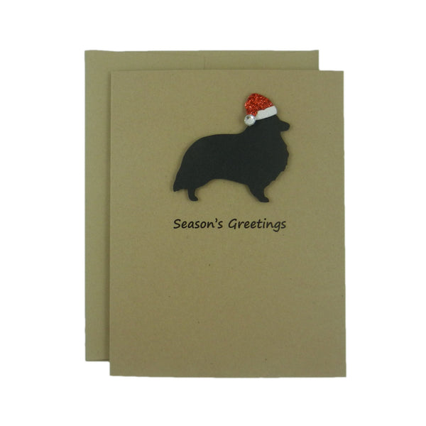 Shetland Sheepdog Christmas Cards - 10 Pack - Santa Hat - Sheltie Christmas Cards - Holiday Cards - Dog Silhouette - Dog Holiday Cards - Embellish by Jackie