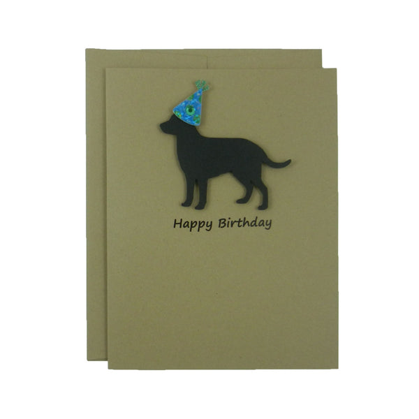 Black Labrador Retriever Birthday Card Handmade Black Dog Birthday Greeting Card - Embellish by Jackie