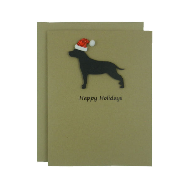 American Staffordshire Terrier Christmas Cards with Santa Hat Black Dog Single Card or 10 Pack - Embellish by Jackie