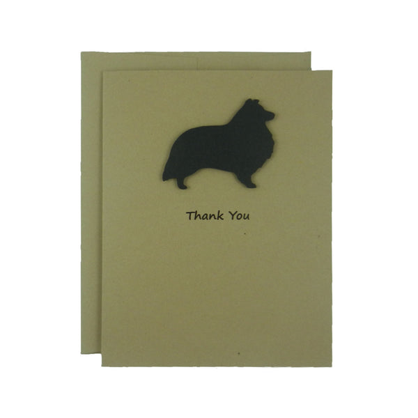 Sheltie - Shetland Sheepdog Thank You Cards - Handmade Black Dog Kraft Thank You Note Cards - Greeting Card 10 Pack Single Card Pick inside - Embellish by Jackie