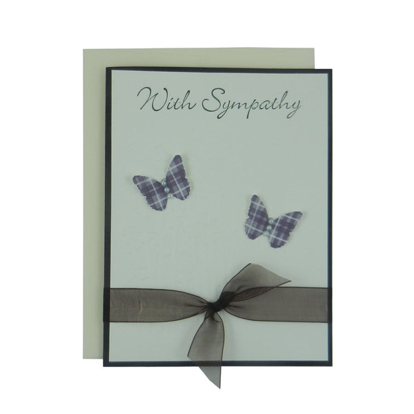 Sympathy Card - Handmade Sympathy Greeting Card - Purple Butterflies - Eggplant Butterfly Handmade Card ‰ÛÒ Condolence Card - Condolences Card - Embellish by Jackie