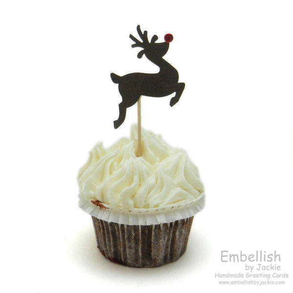 Reindeer Cupcake Topper - Set of 12 - Embellish by Jackie