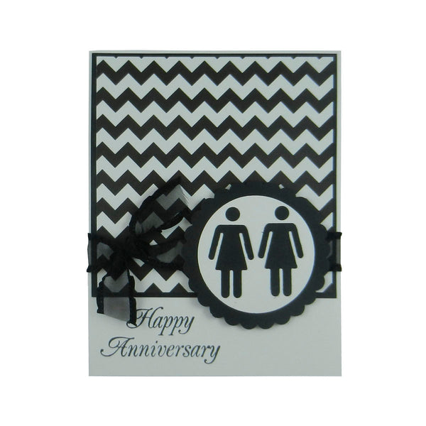 Chevron Anniversary Card Anniversary Card Lesbian Anniversary Card same Sex Card Gay - Embellish by Jackie