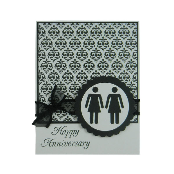 Damask Anniversary Card Gay Anniversary Card Lesbian Anniversary Card same Sex Card Gay Gift - Embellish by Jackie