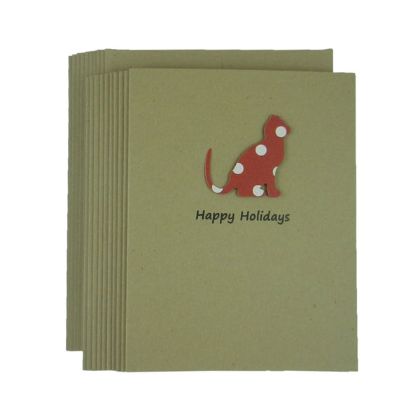 Cat Red and White Polka Dot Holiday Cards - Single Card or 10 Pack - Cat Silhouette Christmas Cards - Embellish by Jackie