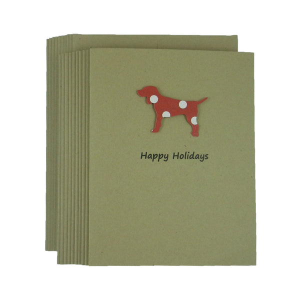 Dog Christmas Cards - 10 Pack - Red and White Polka Dot - Dog Silhouette Christmas Cards - Embellish by Jackie