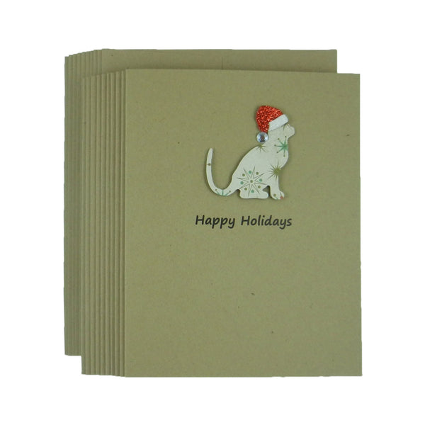 Cat Christmas Cards 10 Pack Cat Holiday Cards Pet Christmas Card Cat Lover gift Cat Snowflake Pattern Cat Christmas Card Pet Christmas Cards - Embellish by Jackie