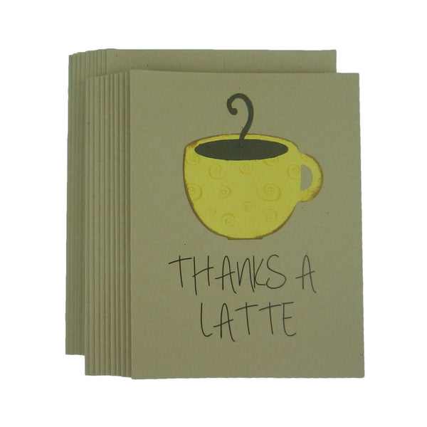 Coffee Thanks a Latte Thank You Card Pack Coffee Greeting Card Coffee Themed Card Handmade - Embellish by Jackie