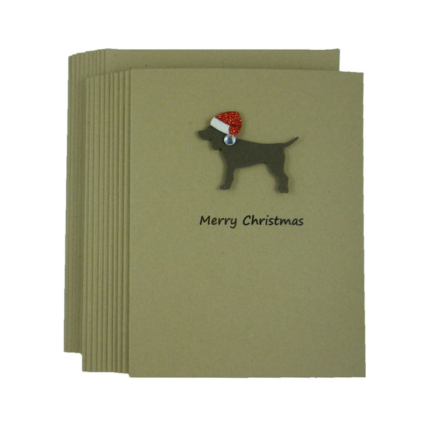 Chocolate Dog Christmas Cards - 10 Pack - Santa Hat - Holiday Cards - Embellish by Jackie