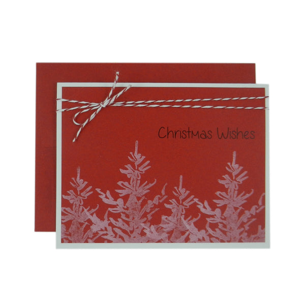 Christmas Card 10 Pack Red with White Christmas Trees Christmas Wishes Red and White Bakers Twine Holiday Card Set White Trees Free Shipping - Embellish by Jackie