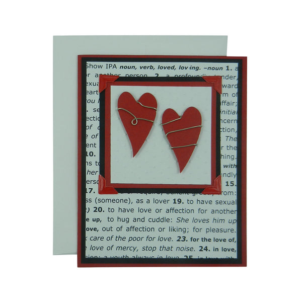 Handmade Valentine Card Two Hearts Wrapped in wire - Embellish by Jackie