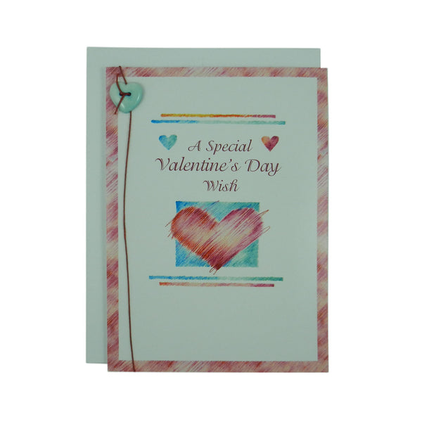Valentine's Day Greeting Card - Heart - Handmade Recycled - Heart Valentine's Day Card