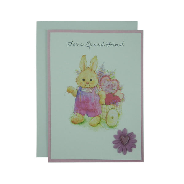Valentine's Day Greeting Card - Friend - Bunny Handmade Recycled - Heart Valentine's Day Card
