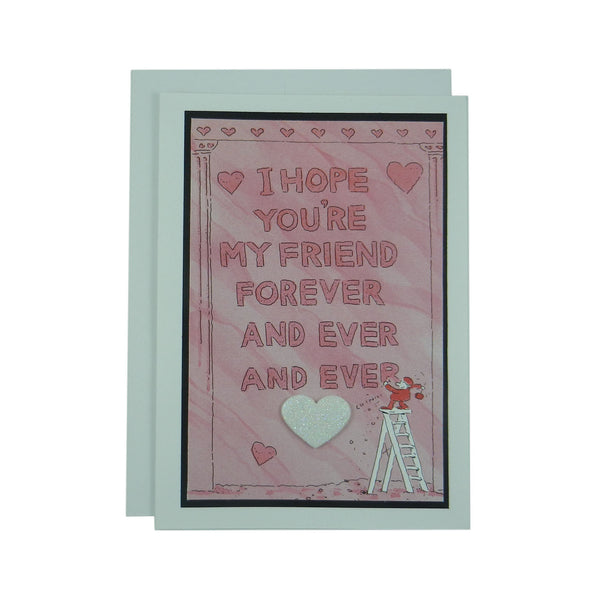 Valentine's Day Greeting Card - Friend - Handmade Recycled - Heart Valentine's Day Card - Recycled