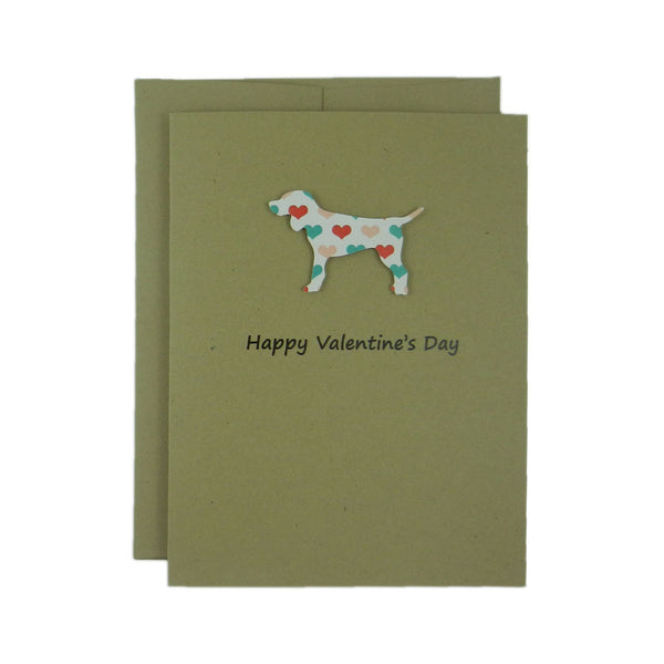 Dog Valentines Day Single Greeting Card - Standard Dog - Embellish by Jackie
