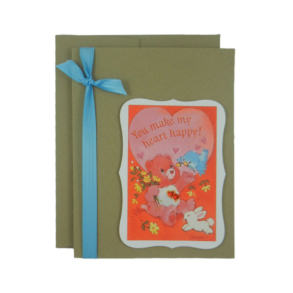 Valentine's Day Card - Handmade Recycled - Care Bear Valentine's Day Card - Recycled Valentine