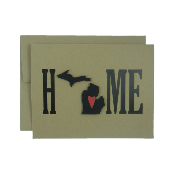 Michigan Greeting Card - Home Michigan - Handmade Greeting Card set or single card with Michigan silhouette and red heart - Kraft Blank Home - Embellish by Jackie