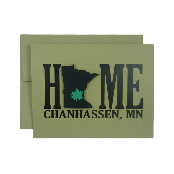 Chanhassen Minnesota Home Greeting Card - Handmade Blank Kraft Note Card set or single with Minnesota silhouette and Chanhassen Maple Leaf - Embellish by Jackie