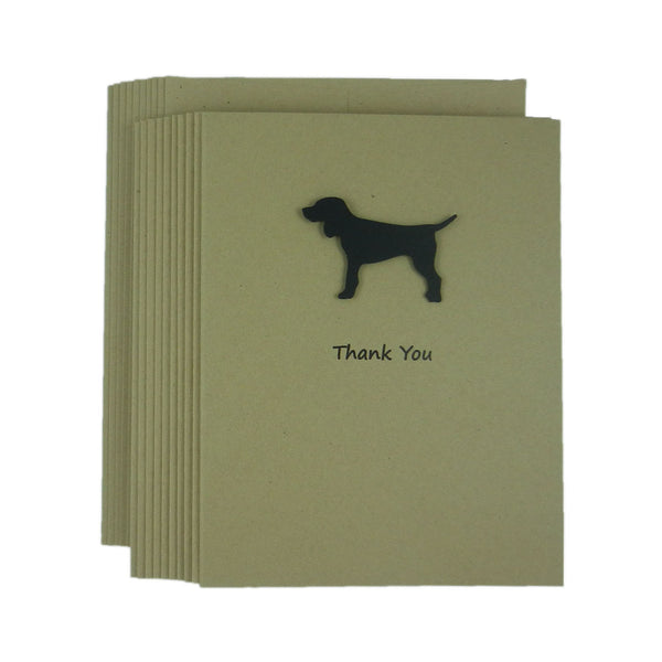 Dog Thank You Cards - Handmade Kraft Thank You Note Cards Pack of 10 - Embellish by Jackie