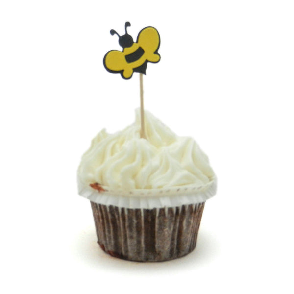Bee Cupcake Topper - Set of 12 - Handmade Bee Cupcake Toppers - Bee Party Decorations - Yellow and Black Bees Decorations - Bee themed Decor - Embellish by Jackie