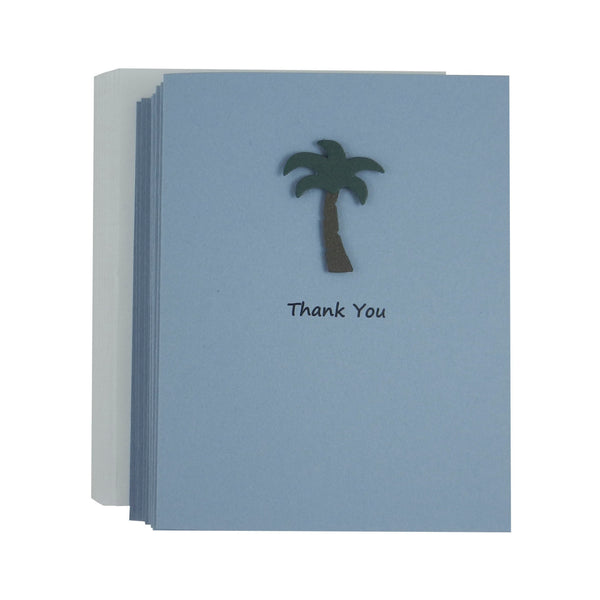 Palm Tree Thank You and Blank Greeting Cards - Handmade Palm Tree Note Cards - Thank You Note Card Set - Blank Tropical Cards Palm Tree Art - Embellish by Jackie
