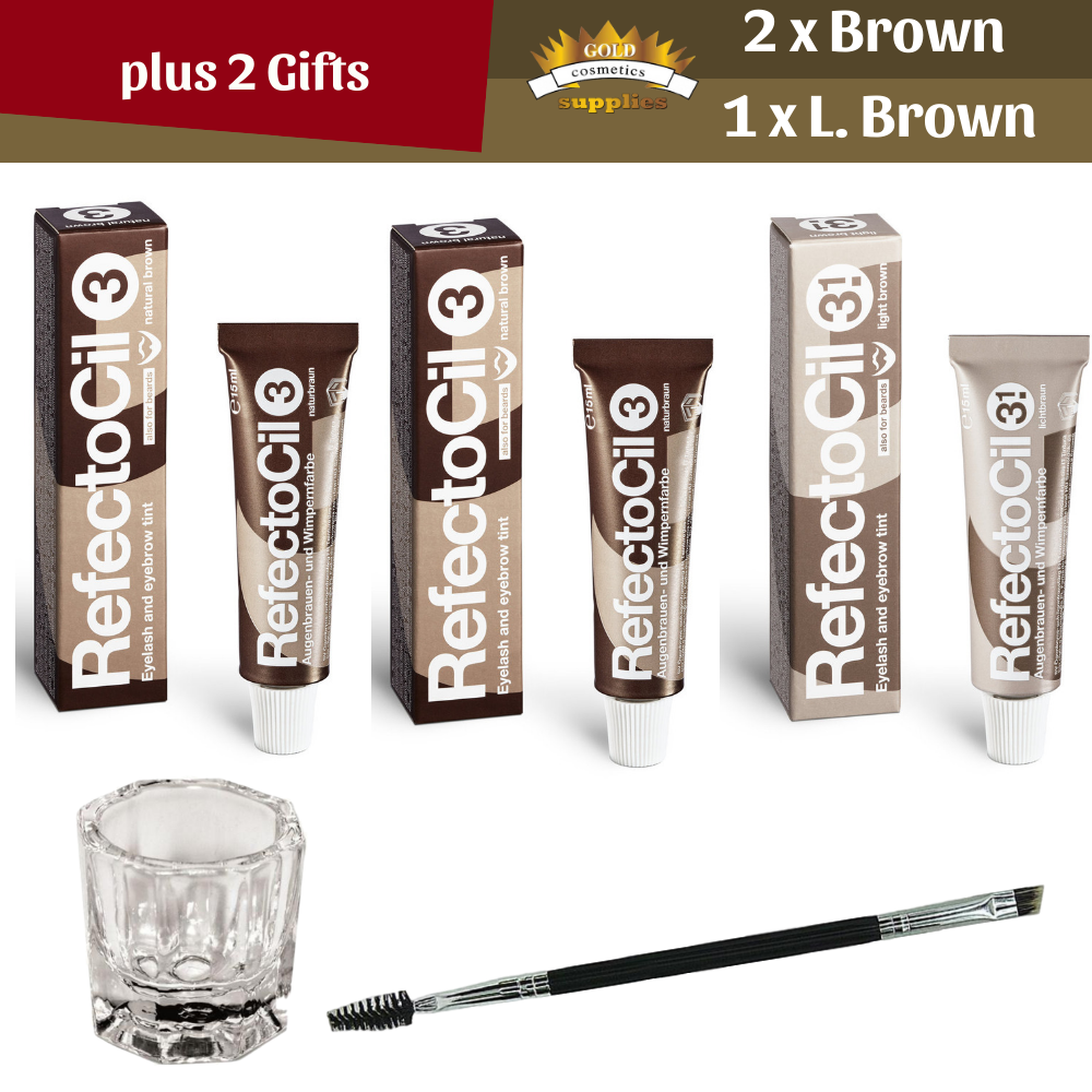 Refectocil 2x Natural Brown + Light Brown + 2 Gifts