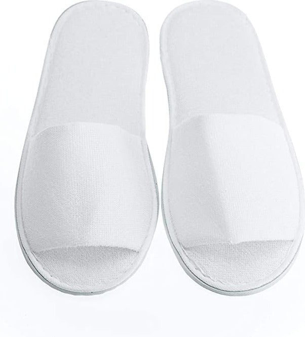 12-Pairs/ Disposable Cotton Spa Slippers - Open Toes