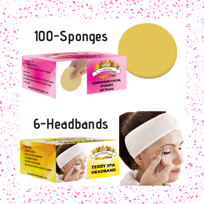 Sponges & Headbands - Gold Cosmetics & Supplies