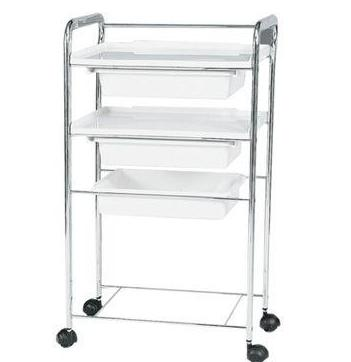 White Beauty Trolley, 3 Tray - Gold Cosmetics & Supplies