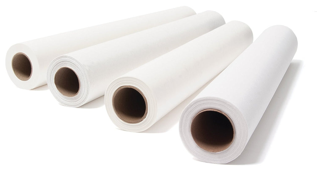DISPOSABLE PAPER BED COVER ROLL (WHITE) - Gold Cosmetics & Supplies