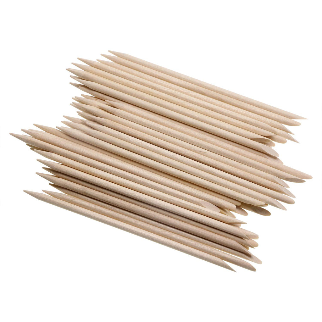 "100/pcs Orange Wood Sticks 4"" - Slant/Point"