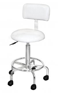 Deluxe Stool With Back Support - White - Gold Cosmetics & Supplies